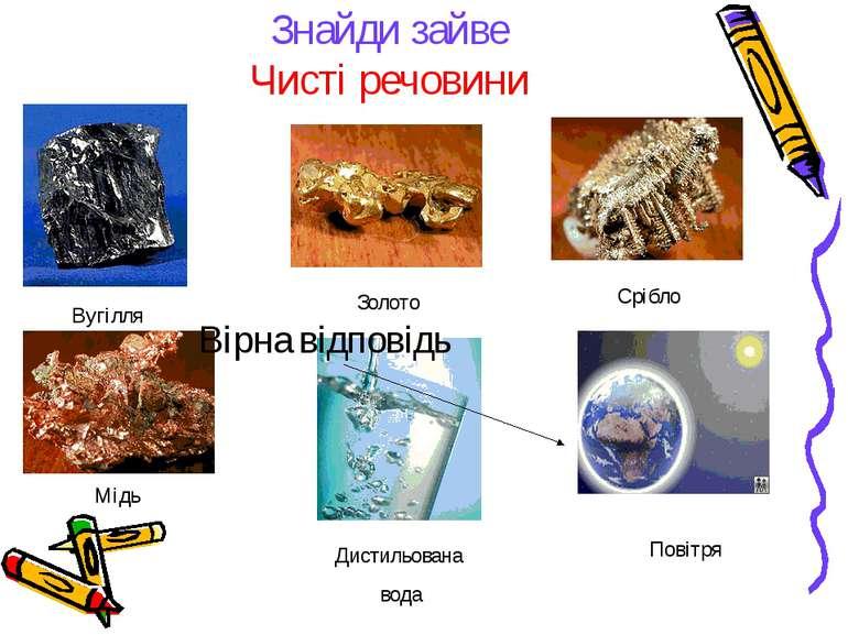 Знайди зайве Чисті речовини Вугілля Золото Срібло Дистильована вода Повітря М...