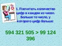 1. Посчитать количество цифр в каждом из чисел. Больше то число, у которого ц...