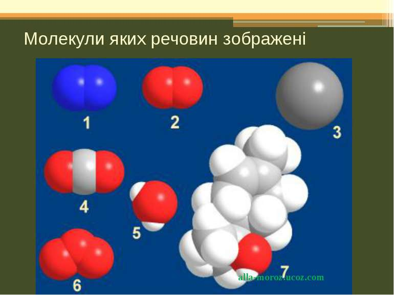 Молекули яких речовин зображені alla-moroz.ucoz.com