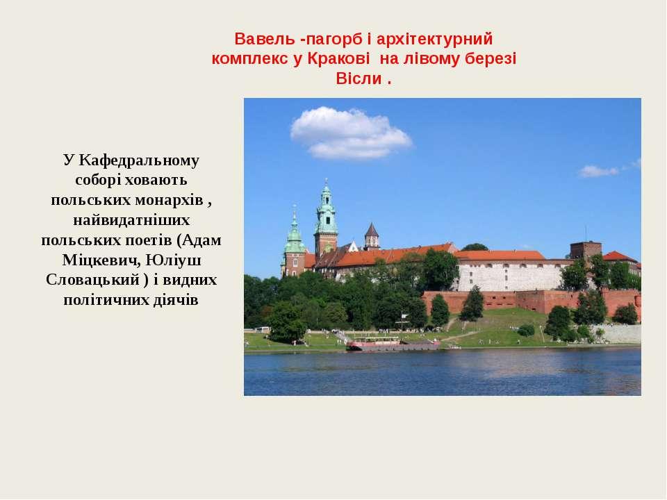 Вавель -пагорб і архітектурний комплекс у Кракові на лівому березі Вісли . У ...