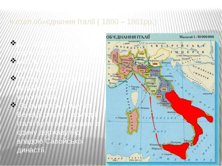 ІІ етап об»єднання Італії ( 1860 – 1861рр.)