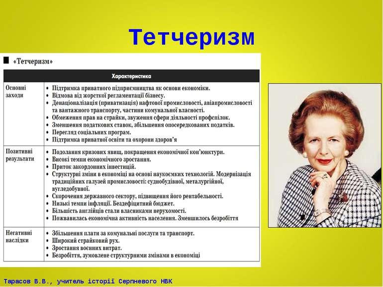 Тетчеризм Тарасов В.В., учитель історії Серпневого НВК