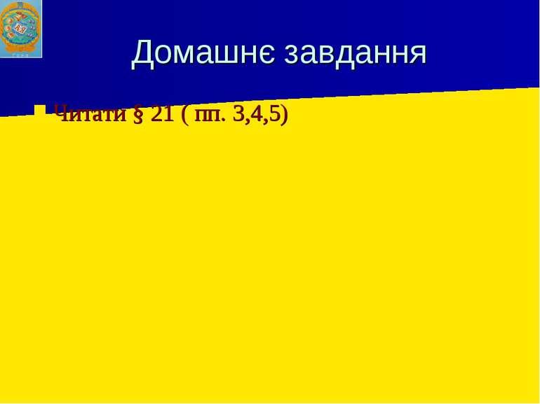 Домашнє завдання Читати § 21 ( пп. 3,4,5)