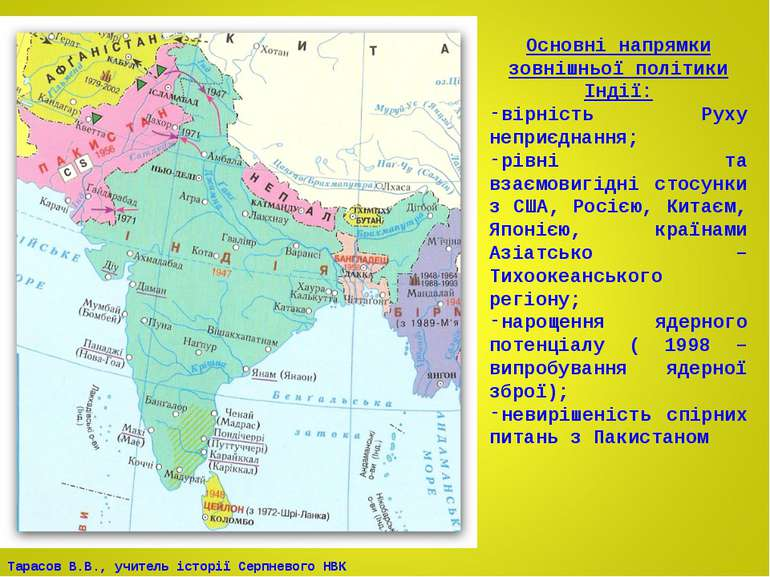 Основні напрямки зовнішньої політики Індії: вірність Руху неприєднання; рівні...