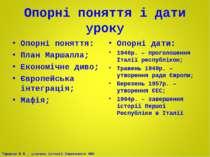 Опорні поняття і дати уроку Опорні поняття: План Маршалла; Економічне диво; Є...