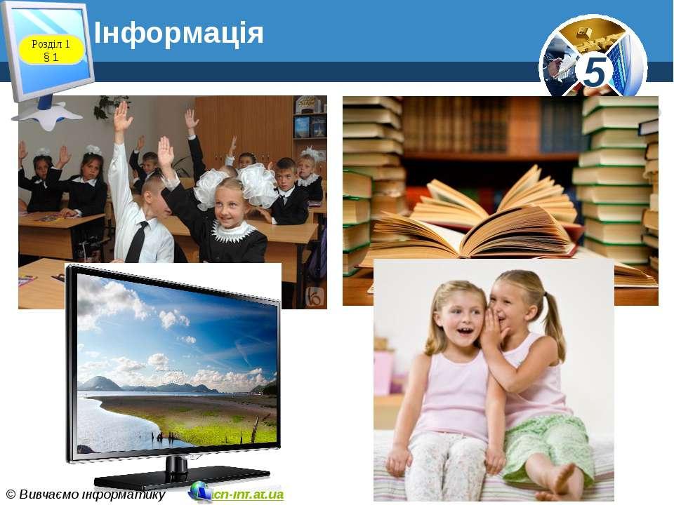 Інформація Розділ 1 § 1 5 © Вивчаємо інформатику teach-inf.at.ua
