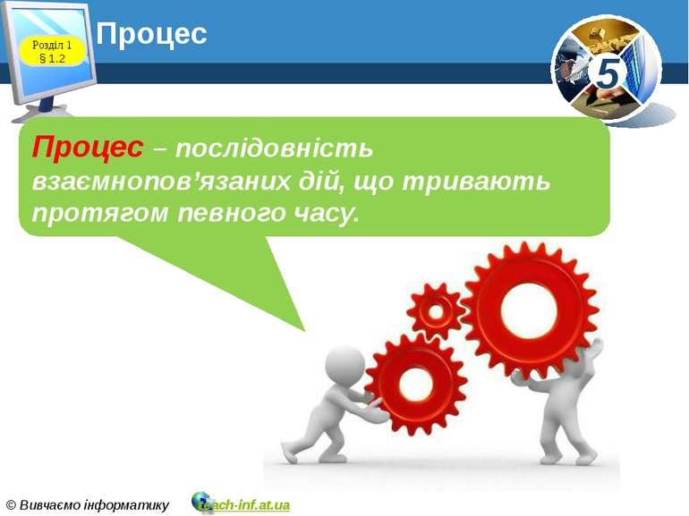 Процес Процес – послідовність взаємнопов'язаних дій, що тривають протягом пев...