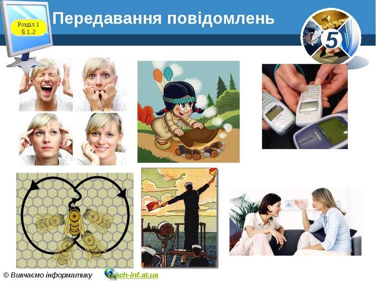 Розділ 1 § 1.2 Передавання повідомлень 5 © Вивчаємо інформатику teach-inf.at.ua