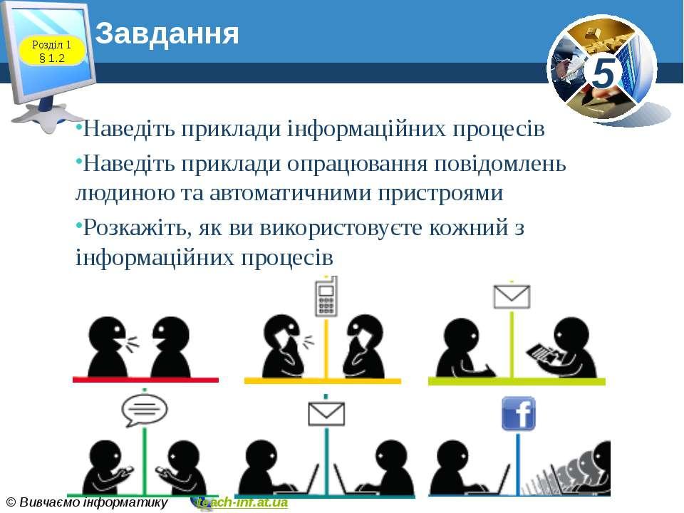 Завдання www.teach-inf.at.ua Розділ 1 § 1.2 Наведіть приклади інформаційних п...