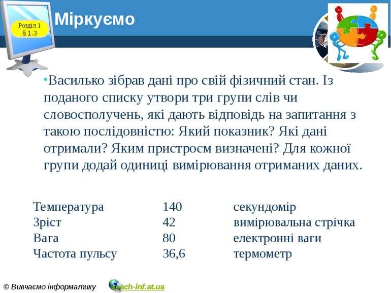 Василько зібрав дані про свій фізичний стан. Із поданого списку утвори три гр...