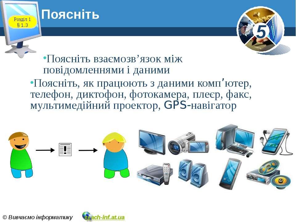 Поясніть Поясніть взаємозв'язок між повідомленнями і даними Поясніть, як прац...
