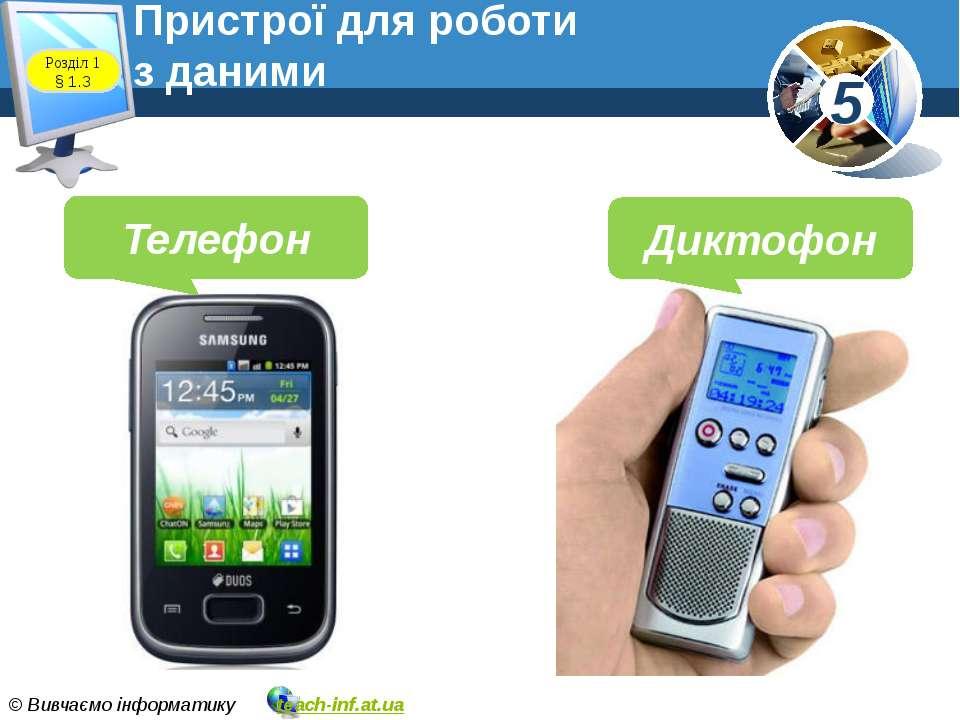 Пристрої для роботи з даними www.teach-inf.at.ua Телефон Диктофон Розділ 1 § ...