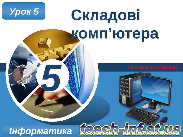 Складові комп'ютера За новою програмою Урок 5 Інформатика 5