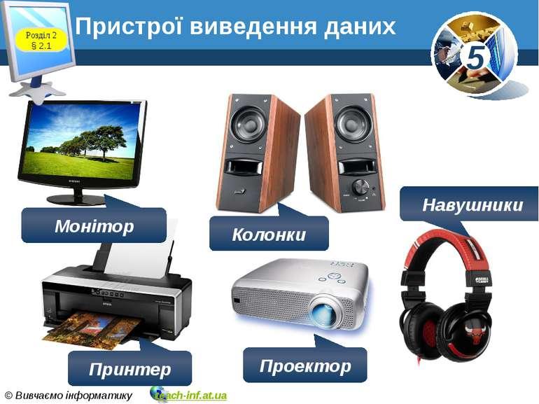 Пристрої виведення даних Розділ 2 § 2.1 Монітор Колонки Навушники Принтер Про...