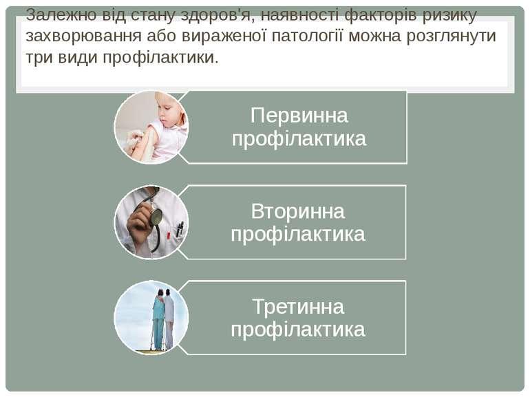 Залежно від стану здоров'я, наявності факторів ризику захворювання або вираже...