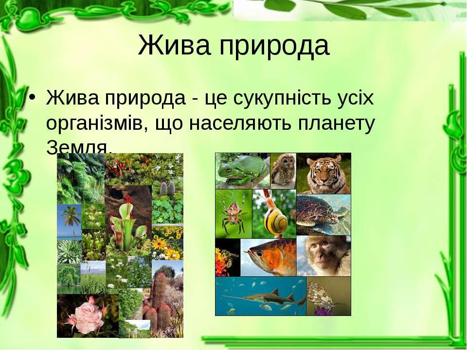 Жива природа Жива природа - це сукупність усіх організмів, що населяють плане...