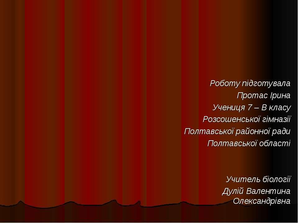 Роботу підготувала Протас Ірина Учениця 7 – В класу Розсошенської гімназії По...