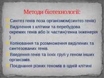 Методи біотехнології: Синтез генів поза організмом(синтез генів) Виділення з ...