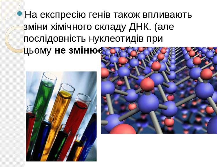 На експресію генів також впливають зміни хімічного складу ДНК. (але послідовн...