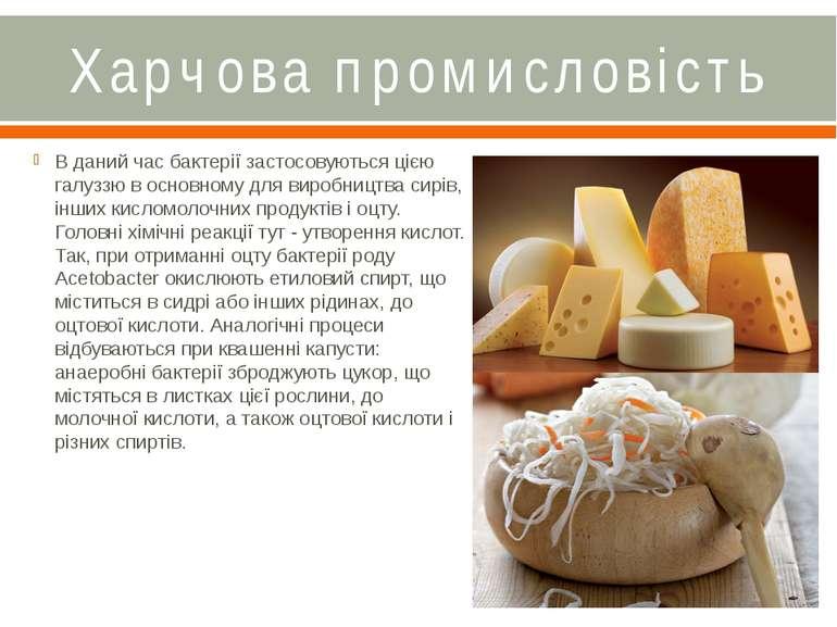 Харчова промисловість В даний час бактерії застосовуються цією галуззю в осно...