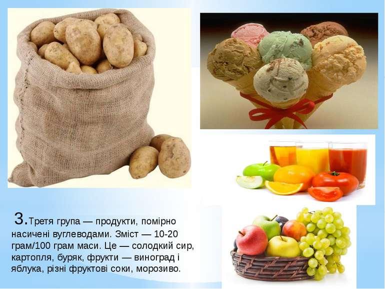 3.Третя група— продукти, помірно насичені вуглеводами. Зміст— 10-20 грам/1...