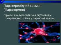 Паратиреоїдний гормон (Парагормон) - гормон, що виробляється скупченням секре...