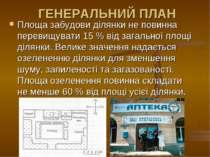 ГЕНЕРАЛЬНИЙ ПЛАН Площа забудови ділянки не повинна перевищувати 15 % від зага...