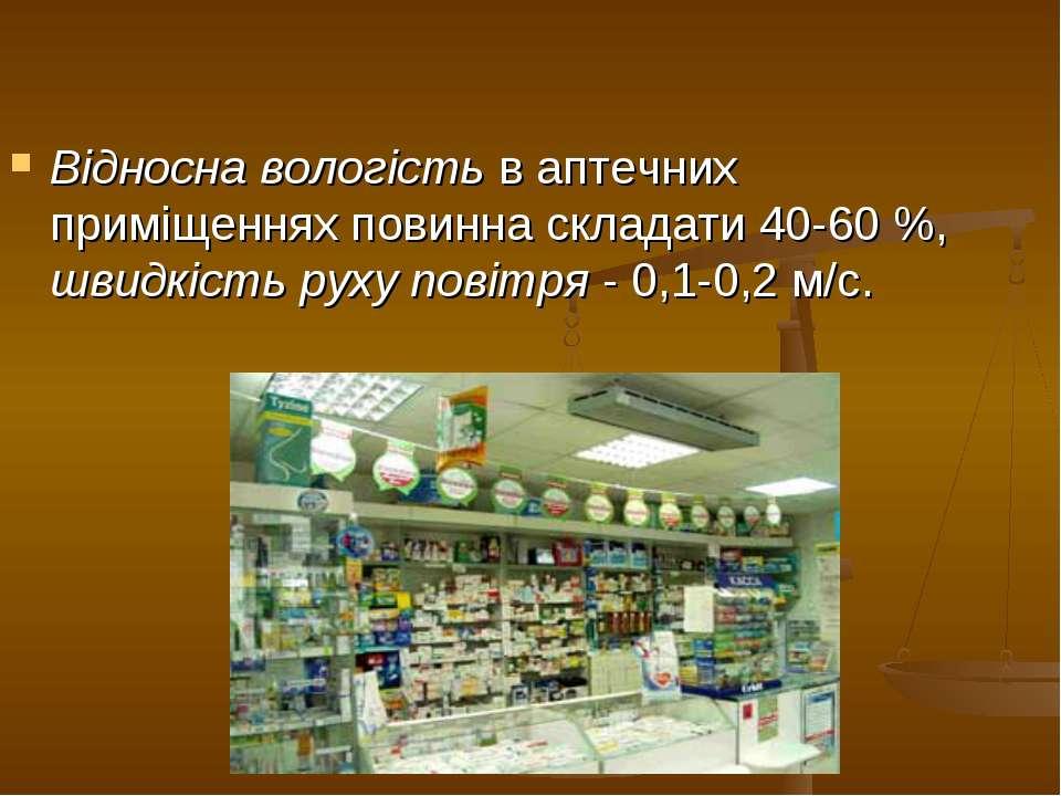 Відносна вологість в аптечних приміщеннях повинна складати 40-60 %, швидкість...