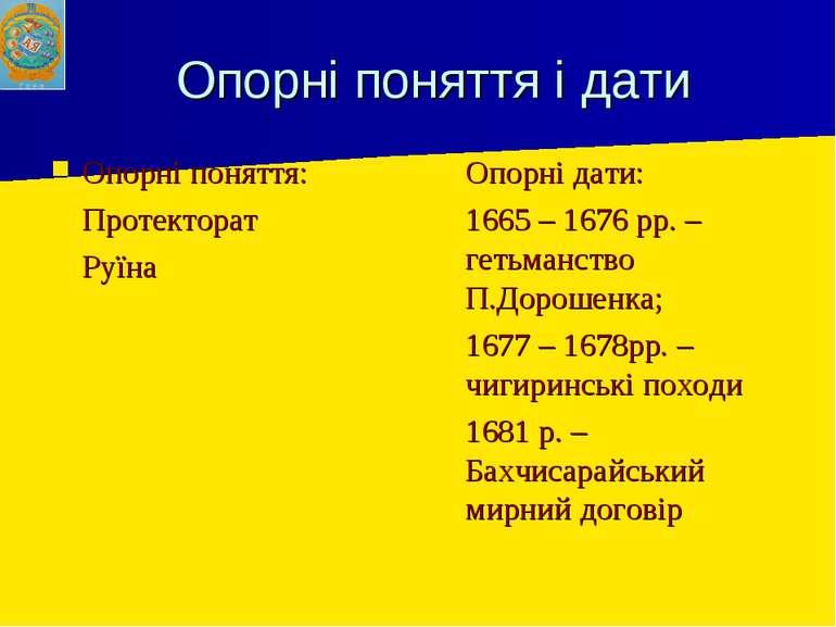 Опорні поняття і дати Опорні поняття: Протекторат Руїна Опорні дати: 1665 – 1...
