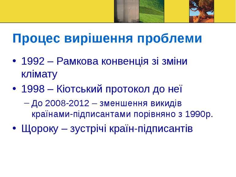 Процес вирішення проблеми 1992 – Рамкова конвенція зі зміни клімату 1998 – Кі...