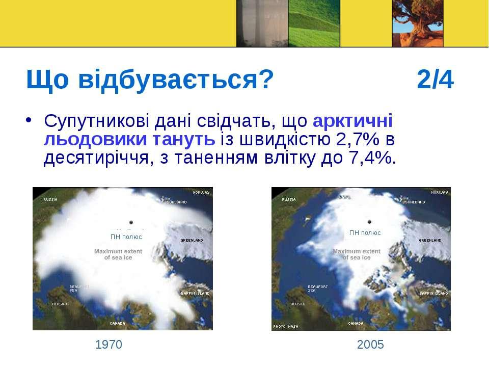Що відбувається? 2/4 Супутникові дані свідчать, що арктичні льодовики тануть ...