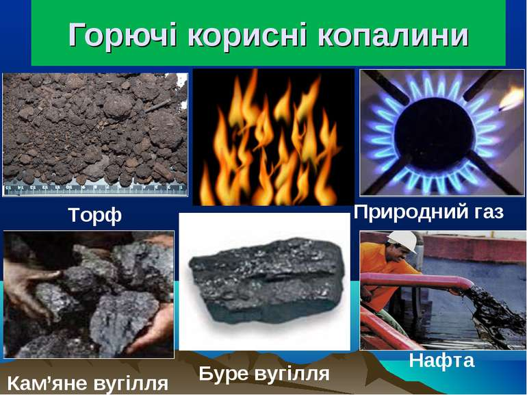 Горючі корисні копалини Кам'яне вугілля Буре вугілля Торф Нафта Природний газ
