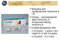Твінрікс Вакцина для профілактики гепатитів А і В Склад – інактивований вірус...