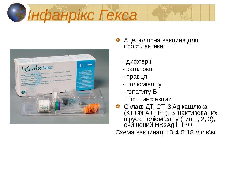 Інфанрікс Гекса Ацелюлярна вакцина для профілактики: - дифтерії - кашлюка - п...