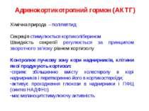 Адренокортикотропний гормон (АКТГ) Хімічна природа – поліпептид Секреція стим...