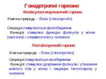 Гонадотропні гормони Хімічна природа – білок (глікопротеїн) Секреція стимулює...