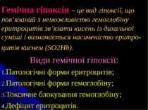 Гемічна гіпоксія – це вид гіпоксії, що пов'язаний з неможливістю гемоглобіну ...