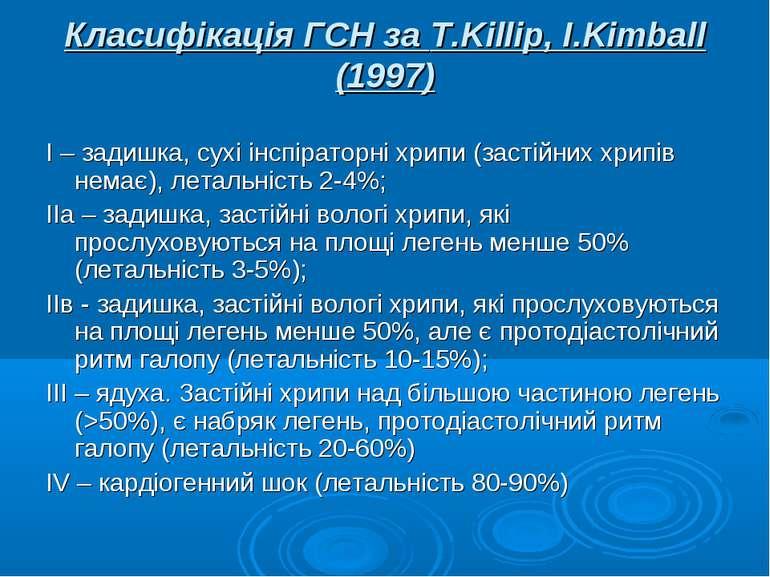 Класифікація ГСН за T.Killip, I.Kimball (1997) І – задишка, сухі інспіраторні...