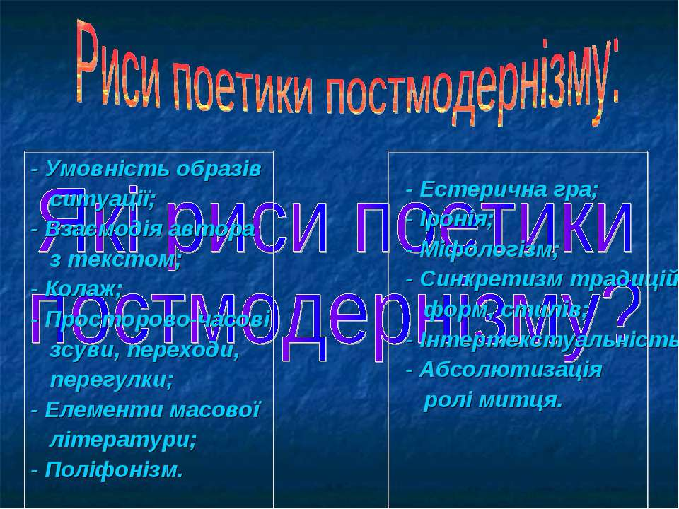 - Умовність образів ситуації; - Взаємодія автора з текстом; - Колаж; - Просто...