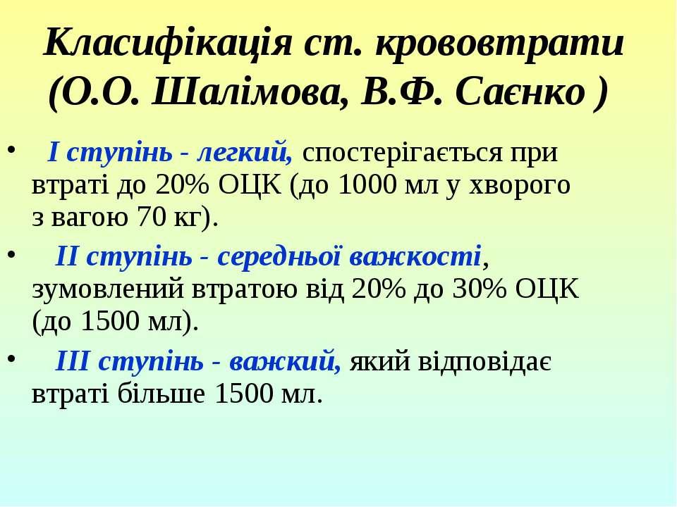 Класифікація ст. крововтрати (О.О. Шалімова, В.Ф. Саєнко ) І ступінь - легк...