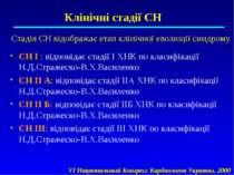 Клінічні стадії СН Стадія СН відображає етап клінічної еволюції синдрому СН І...
