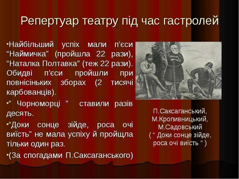 """Репертуар театру під час гастролей Найбільший успіх мали п'єси """"Наймичка"""" (пр..."""