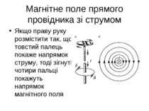 Магнітне поле прямого провідника зі струмом Якщо праву руку розмістити так, щ...