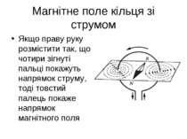 Магнітне поле кільця зі струмом Якщо праву руку розмістити так, що чотири зіг...