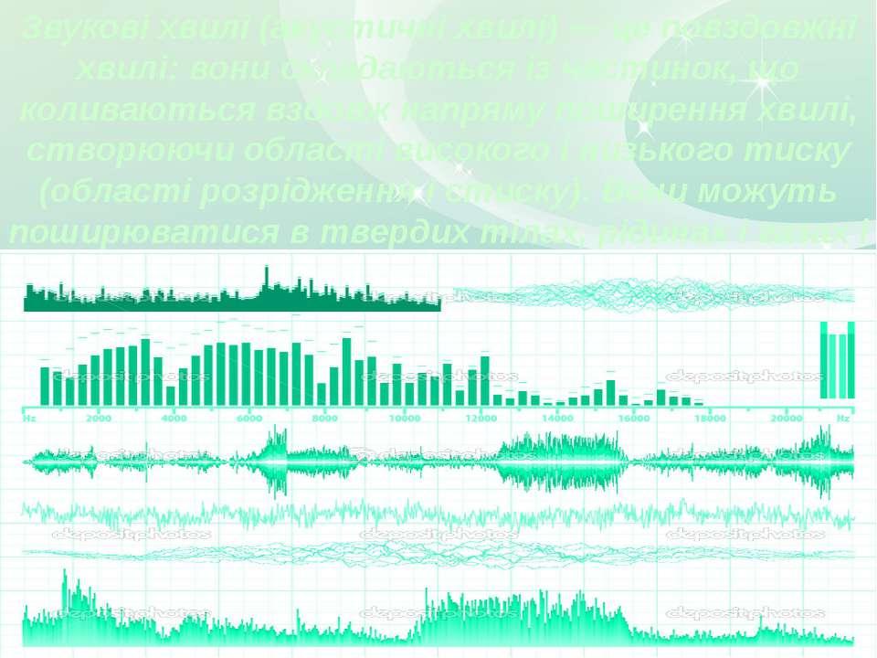 Звукові хвилі (акустичні хвилі) — це повздовжні хвилі: вони складаються із ча...