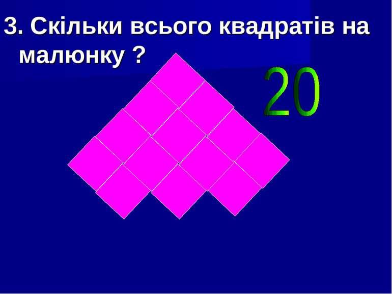 3. Скільки всього квадратів на малюнку ?