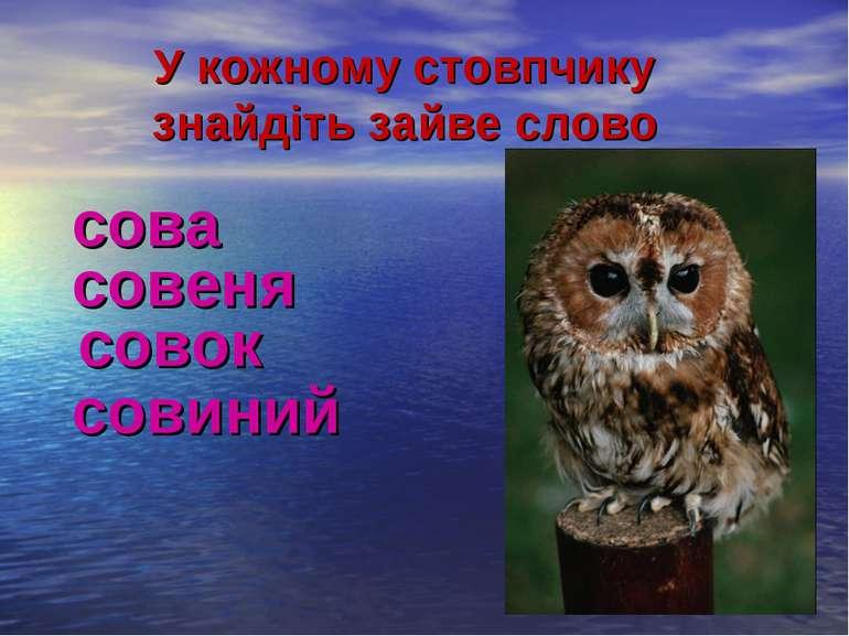 У кожному стовпчику знайдіть зайве слово сова совеня совок совиний