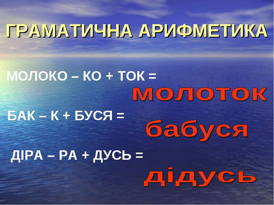 ГРАМАТИЧНА АРИФМЕТИКА МОЛОКО – КО + ТОК = БАК – К + БУСЯ = ДІРА – РА + ДУСЬ =