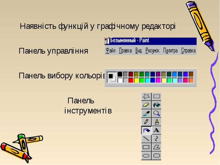 Наявність функцій у графічному редакторі Панель управління Панель вибору коль...