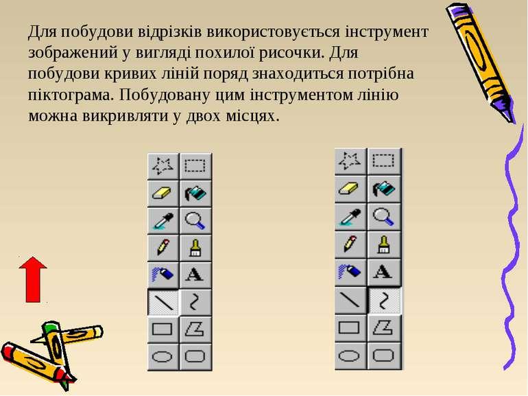 Для побудови відрізків використовується інструмент зображений у вигляді похил...